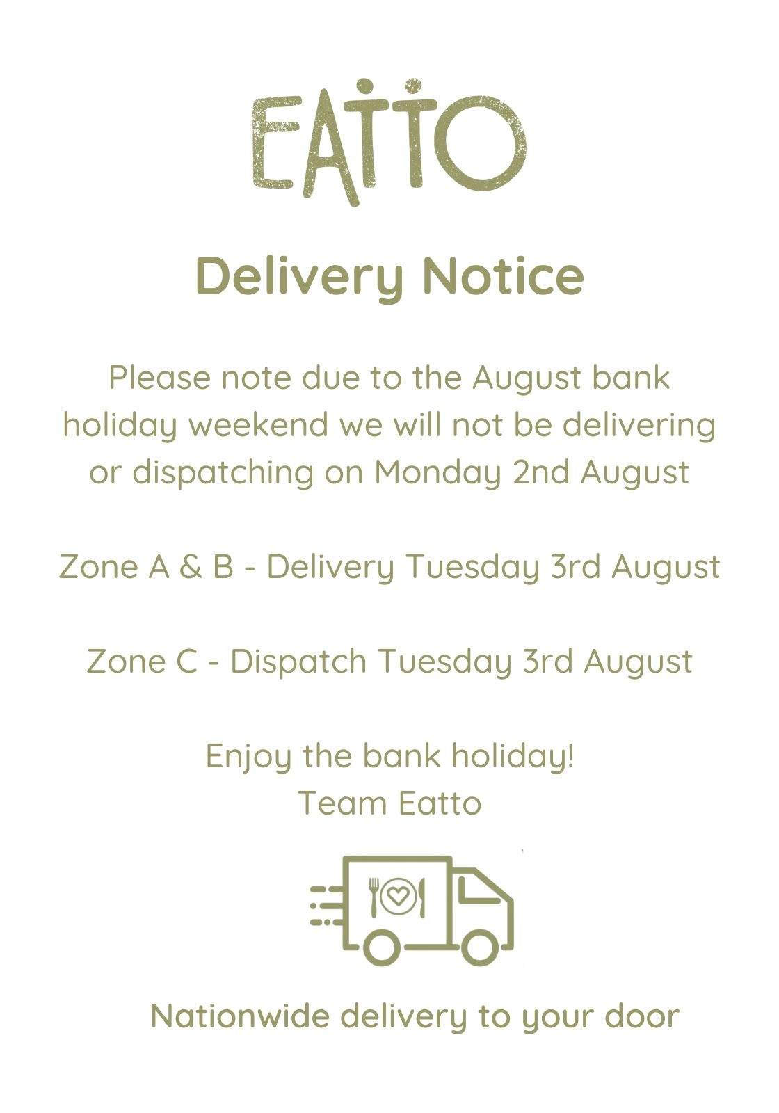 Bank Holiday Delivery Notice - August